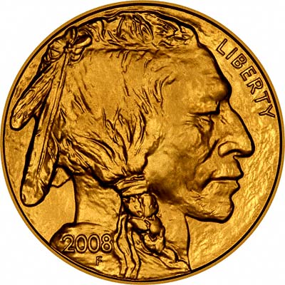 Obverse of 2008 One Ounce US Gold Buffalo