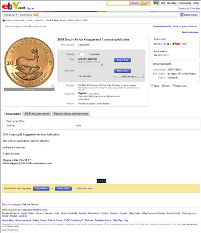 psi_llc eBay Listing Using our 2009 Krugerrand Photograph