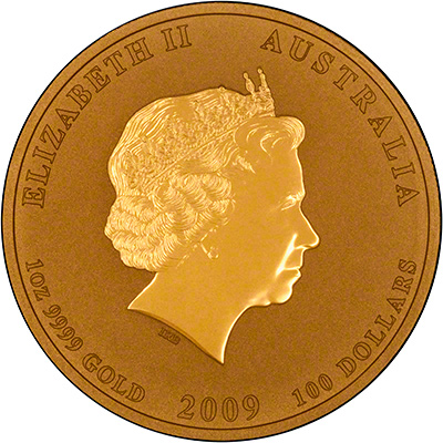 Obverse of a 2009 Australian Year of the Ox Gold Bullion Coin