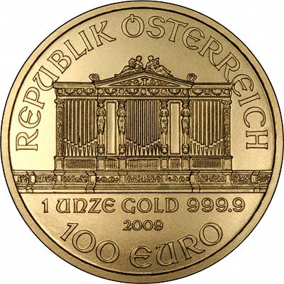 Reverse of 2009 One Ounce Austrian Gold Philharmonica