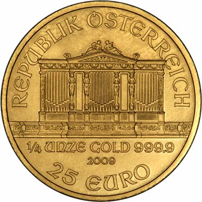 Obverse of 2009 Austrian Quarter Ounce Philharmoniker Gold Coin