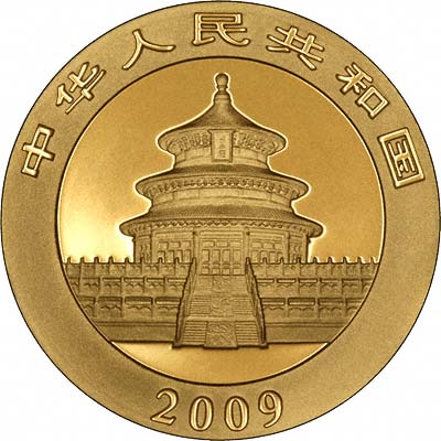 Obverse of  2009 Chinese One Ounce Gold Panda Coin