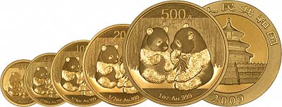2009 Chinese Gold Panda Coins in all Five Sizes