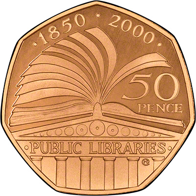 2000 Public Libraries Gold Fifty Pence Proof