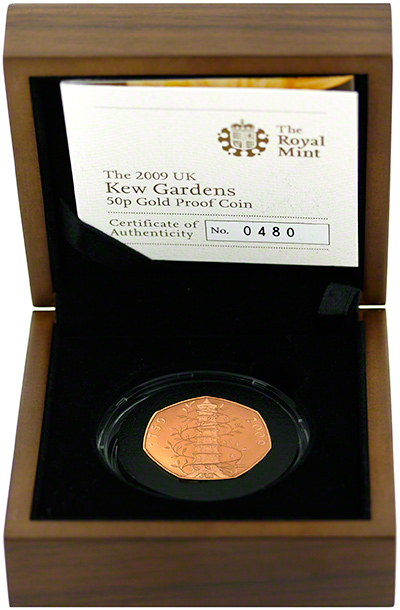 2009 Kew Gardens Gold Proof Fifty Pence Gold Proof in Box