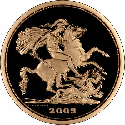 Reverse of 2009 Gold Proof Five Pounds