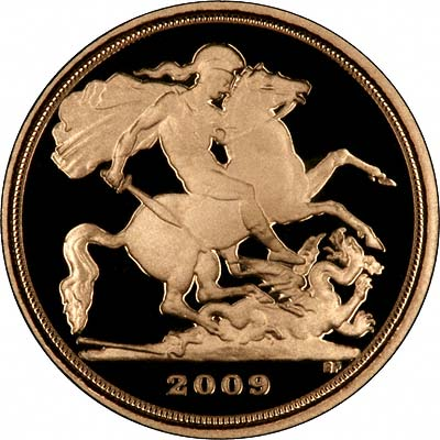 Reverse of 2009 Gold Proof Quarter Sovereign