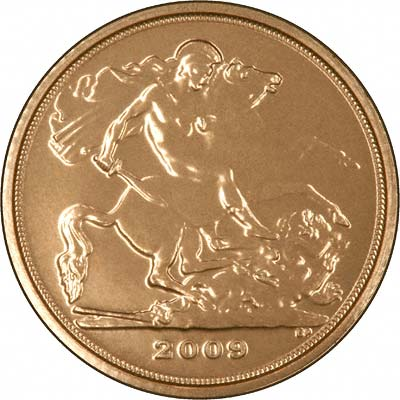 Reverse of 2009 'Bullion' Quarter Sovereign