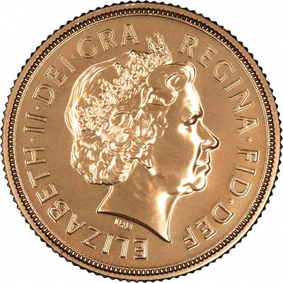 Obverse of 2009 Uncirculated Gold Sovereign