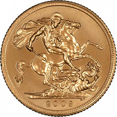 Reverse of 2009 Uncirculated Gold Sovereign