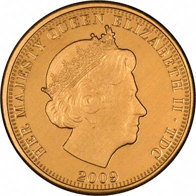 Obverse of 2009 Gold Proof Half Sovereign