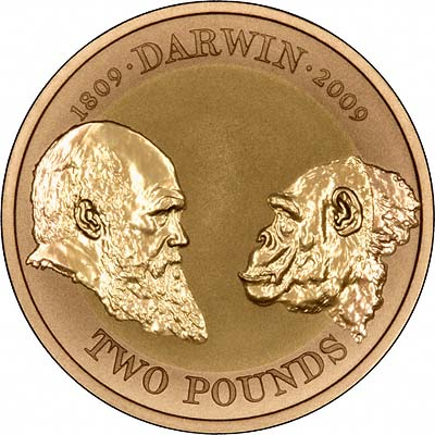 Reverse of 2009 Charles Darwin Two Pounds