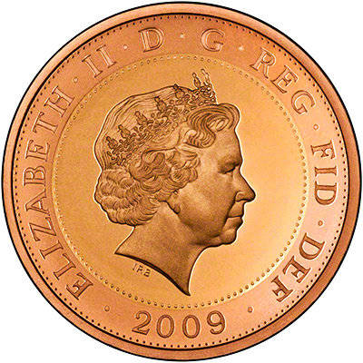 Obverse of 2009 Gold Proof Two Pounds