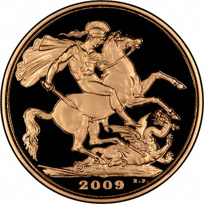 Reverse of 2009 Gold Proof Double Sovereign