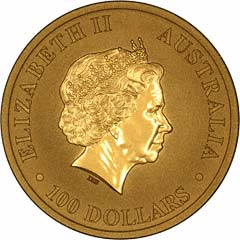 Obverse of One Ounce Gold Australian Kangaroo Nugget