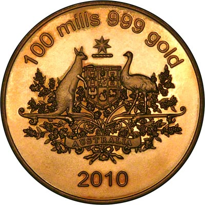2010 Dated Australian 100 Mills HGE Gold Plated Medallion Obverse