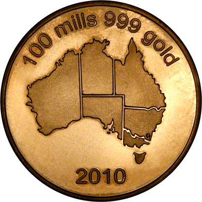 2010 Dated Australian 100 Mills H.G.E. Gold Plated Medallion Obverse
