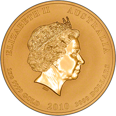 Obverse of 2010 Australian Year of the Tiger 1kg Gold Coin