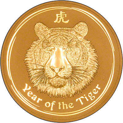 Reverse of 2010 Australian Year of the Tiger 1 Kilo Gold Coin