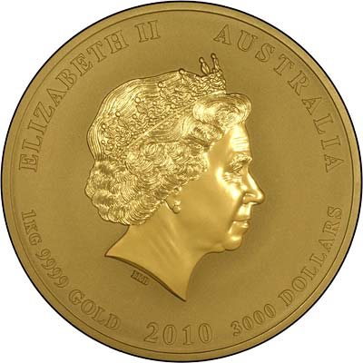 Obverse of 2010 One Kilo Nugget