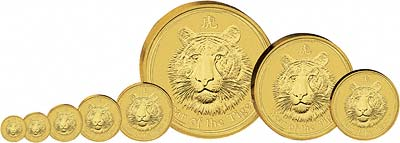 All Eight Sizes of the Year of the Tiger Coins