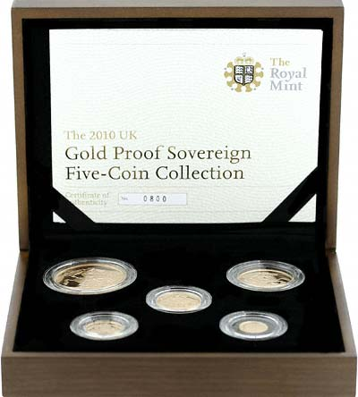 2010 Gold Sovereign 5 Coin Proof Set in Case