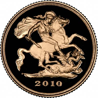 St George Reverse on the 2010 Gold Proof Half Sovereign