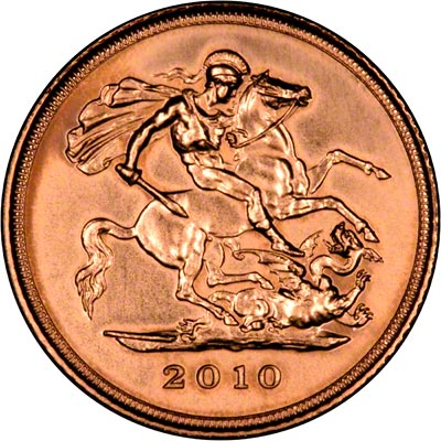 St George Reverse on the 2010 Gold Uncirculated Half Sovereign