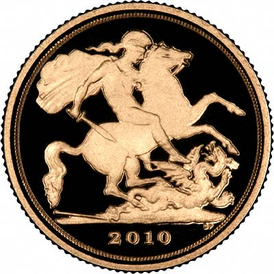 Reverse of 2010 Gold Proof Quarter Sovereign