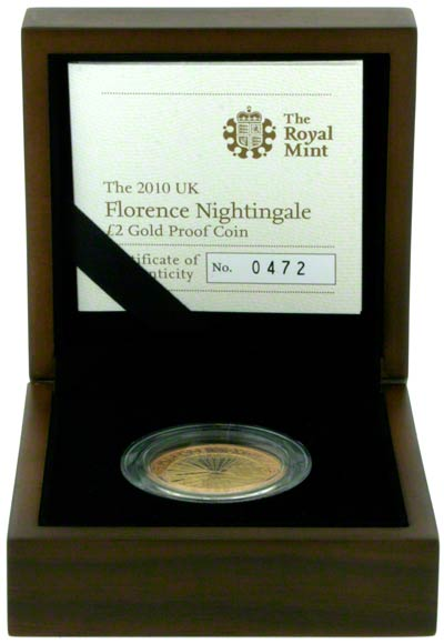 2010 Florence Nightingale Gold Proof Two Pound Coin in Presentation Box