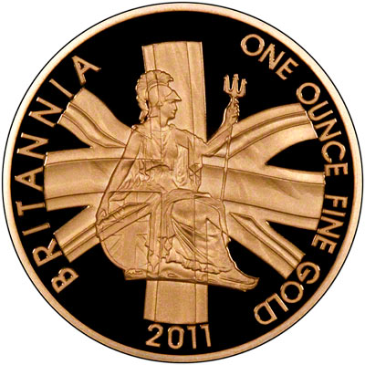 Reverse of 2011 One Ounce Gold Proof Britannia
