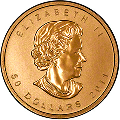 Obverse of 2011 Gold Canadian Maple Leaf Coin