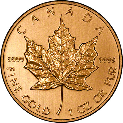 Reverse of 2011 Canadian One Ounce Gold Maple Leaf - 50 Dollars