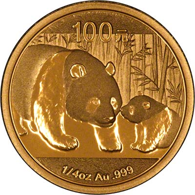 Reverse of 2011 Chinese Quarter Ounce Gold Panda
