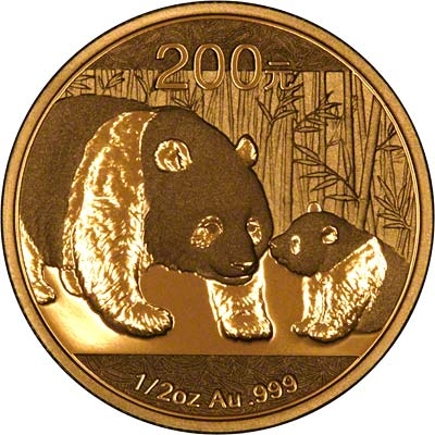 Reverse of 2011 Chinese Half Ounce Gold Panda