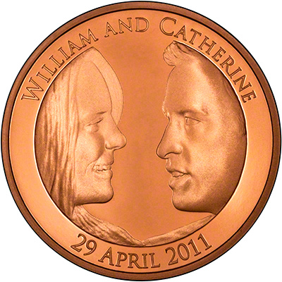 Reverse of 2011 Royal Wedding Gold Five Pound Crown
