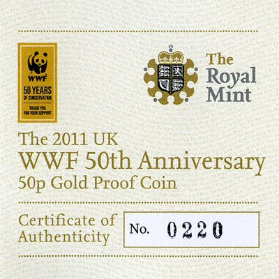2011 WWF Fifty Pence Gold Proof Certificate