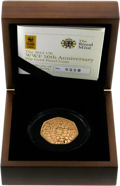 2011 WWF Fifty Pence Gold Proof in Box