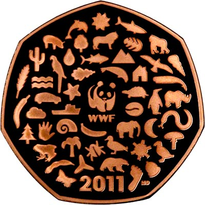 Reverse of 2011 WWF Fifty Pence Gold Proof