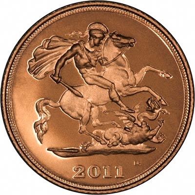 St George Reverse on the 2011 Gold Proof Half Sovereign