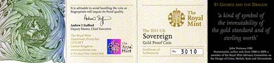 2011 Proof Sovereign Certificate