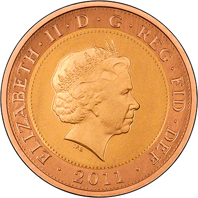 Obverse of Gold Two Pounds
