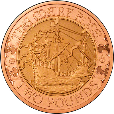 Reverse of Gold Mary Rose Two Pound