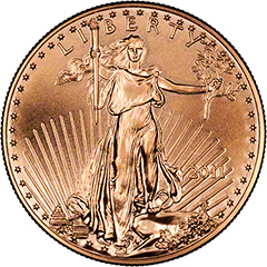 Obverse of One Ounce Gold American Eagle Coin
