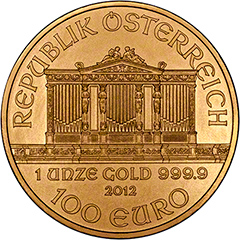 Obverse of One Ounce Gold Austrian Philharmoniker Coin