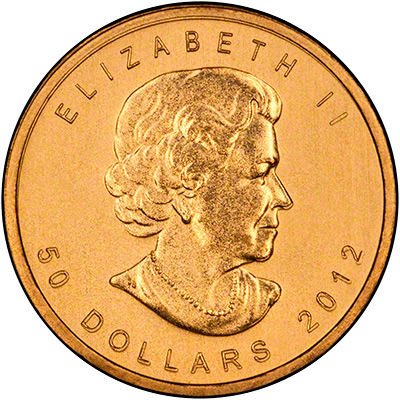 Obverse of 2012 Canadian One Ounce Gold Maple Leaf