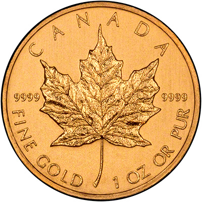 Reverse of 2012 Canadian One Ounce Gold Maple Leaf - 50 Dollars