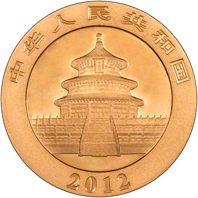 Obverse of  2012 Chinese One Ounce Gold Panda Coin