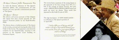 Reverse of 2012 Diamond Jubilee Gold Proof Crown Certificate