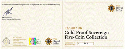 2012 Five Coin Gold Proof Set Certificate